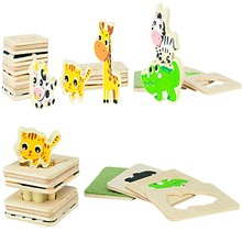 Free Shipping Baby Educational Wood Puzzles 3D Jigsaw Puzzle Catton Animals  Kids Wooden Toys for Children above 3 Years Old