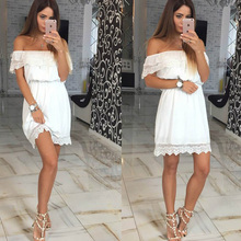 Buy Lanmox New Women Summer Sexy Beach Casual Loose Dress sexy Slash neck Elegant Vintage Sweet Lace White Black Mini Dress Vestidos for $8.99 in AliExpress store