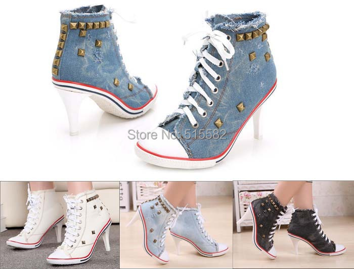 2018 new fashion hot women high top lace up thin high heels shoes vintage rivets denim canvas casual female shoes retro<br>