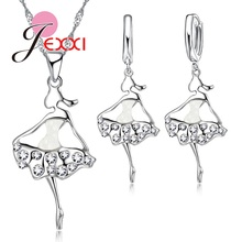 PATICO Elegance Dress Design Silver Jewelry Set For Lady Girl Women Crystal Necklace Earrings Set For Cocktail Party(China)