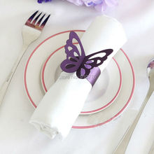 Set of 50 Purple/White Laser Cut Butterfly Paper Napkin Rings/wraps Wedding Favors Banquet Home Table Decoration