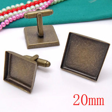100piece Antique Bronze French Cufflink/Cuff link Jewelry with inner 20mm Bezel Setting Tray for Cameo Cabochons