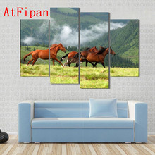 AtFipan Oil Paintings On Canvas Artwork Animal Wild Horses In Romanian Mountain Wall Pictures For Living Room Unframed Posters