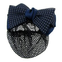 Best Sale Dotted Bow Barrette Hair Clip Bun Cover Dark Blue White w Net Snood(China)
