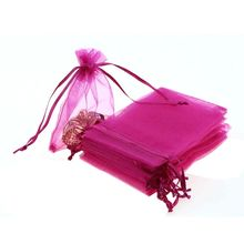 50PCS/Lot 9*12cm Organza Pouches Wedding Party Gift Candy Jewelry Bag Hot Pink Color