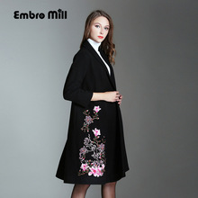 Vintage royal embroidery Winter wool overcoats woman Chinese style runway lady elegant plus size loose trench coat M-4XL(China)