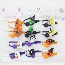 4 pcs /set Halloween different style elastic hair bands girl's festival ponytail holders hair accessories fashion hair scrunchy