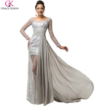 Grey Lace Long Sleeve Evening Dress Grace Karin Dresses Boat Neck Mother of the Bride Dresses Prom Ball Dinner Party Dress 7586