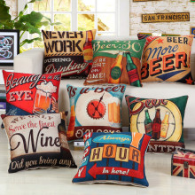 45x45cm Retro Vintage Beer Printed Cushion Cover Coffee Shop Wine Party Sofa Chair Decorative Cotton Linen Pillow Case(China)
