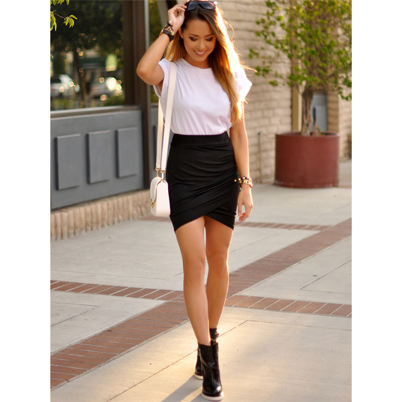 COLROVE Sexy Ruched Mini Pencil Skirt Women Black Asymmetrical Overlap Summer Skirts 2017 New Elegant High Waist Slim Club Skirt 7