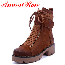 ANMAIRON Black Motorcycle Boots Shoes Woman Square Heels Round Toe Lace-up Spring and Autumn High Quality Ankle Boots for Women