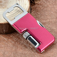Hot sale Multi-function 3 in 1 stainless steel pocket knife with LED light keychain knives with bottle opener corkscrews 76mm