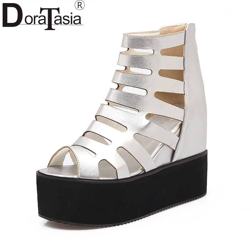 DoraTasia 2018 Summer Sweet Zip up large size 32-43 gladiator Sandals Platform Casual Shoes Woman  Wedges high heels Women Shoes<br>