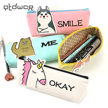 Animal Unicorn Pencil Case School Supplies Stationery Gift Students Cute Canvas Pencil Box Pencilcase Pencil Bag School Supplies(China)