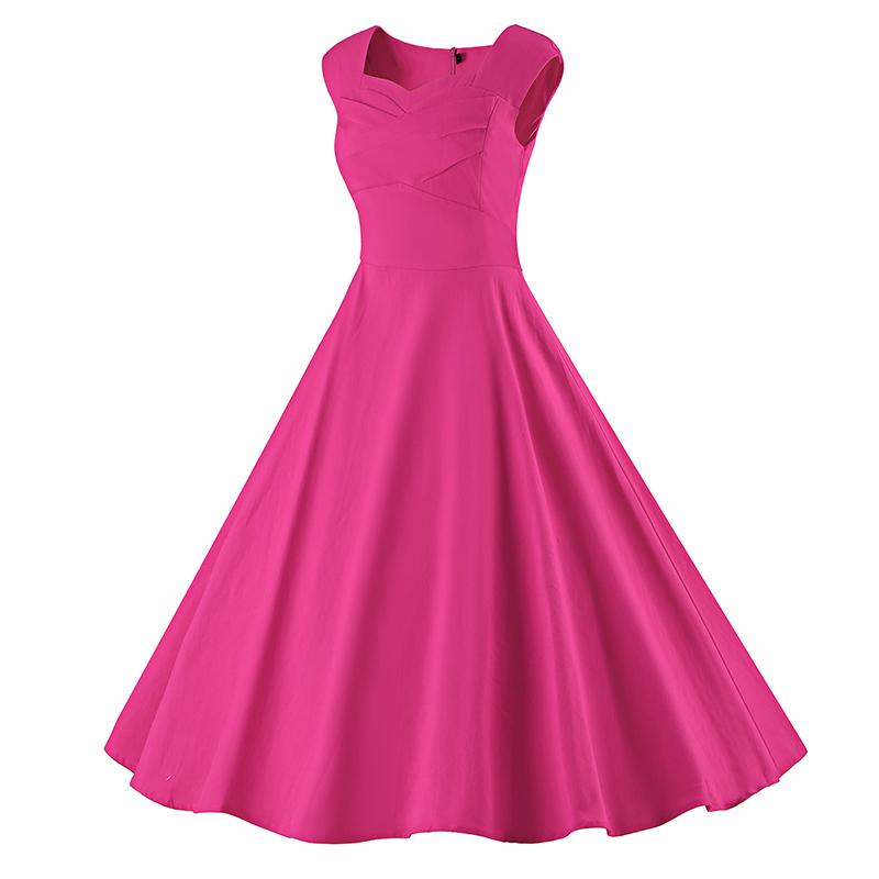 Kostlich 6 Color Retro Summer Dress Women 2017 Sleeveless Hepburn 50s Vintage Dress Elegant Big Swing Rockabilly Party Dresses (16)