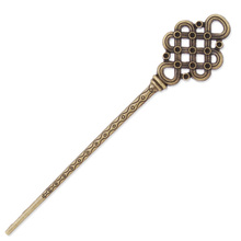 10 pcs Antique Bronze Bookmark Hair Stick,Metal Hair Sticks,Chinese Knot Type Head Hairpin Findings Accessories, 148*30 MM-C3891