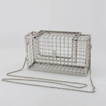 2017 Fashion design personality hollow metal cages party clutch evening bag shoulder bag ladies handbag messenger bags purse(China)