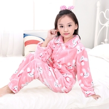 2017 Autumn pijamas kids Homewear Soft and Warm Children Flannel Clothes Sets Girls Long Sleeve Pajamas Sets for Girls robe(China)