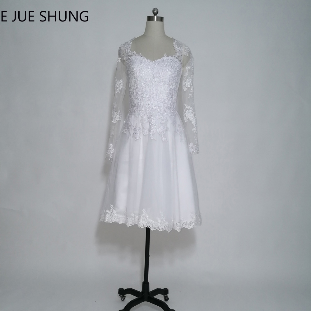 E JUE SHUNG White Lace Appliques Short Wedding Dresses A-line Long Sleeves Beach Wedding Dresses trouwjurk