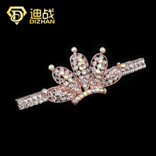 Fashion Trendy Women Girls Hair Accessories Silver Gold Color Rhinestone Hairclip Crystal Crown Hair Clip Barrette(China)