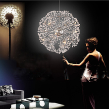 Nordic personalized luxury romantic bedroom living room LED Crystal Pendant Light creative dandelion restaurant pendant lamp(China)
