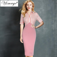 Vfemage Womens Elegant Vintage Pinup Retro 1/2 Sleeve Contrast Lapel Button Striped Wear to Work Party Bodycon Sheath Dress 7916(China)