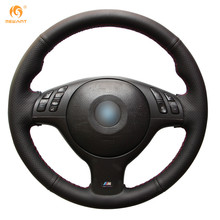Mewant for BMW E46 E39 330i 540i 525i 530i 330Ci M3 2001-2003 Black Micro Fiber Artificial Leather Car Steering Wheel Cover