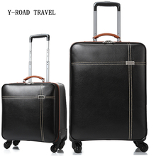 New Fashion High grade Men Business Rolling Luggage Travel bag Trolley 16' Boarding Box Trunk PU Leather Suitcase Password box