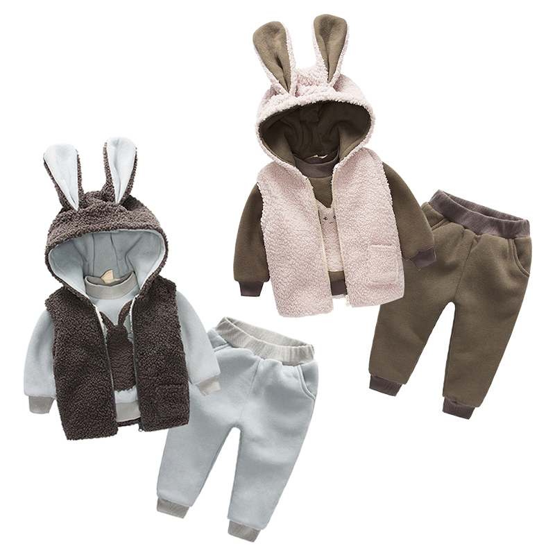 Tz-3271 Baby Rabbit Suit 2017 Clothes Korea New Catamite Childrens Garment Children Increase Down Thickening Three-piece <br>