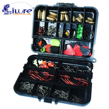 iLure 128 pcs/boxes Fishing Accessories Hook Swivel Weight Fishing Sinker Stopper Connectors Sequins Curling Fishing Tackle Box(China)