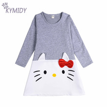 Hello Kitty Dresses for Girls Children Clothing Casual Long Sleeve Kids Clothes Girls Summer 2017 Fashion Party Dress New Style