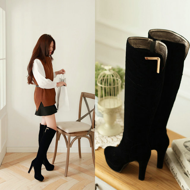 2016  Sexy Platform Women Boots High Heels Thick with Women Shoes Fashion  Over the Knee Boots Woman solid black Stretch <br>