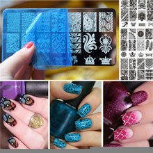 BBC 6X 12CM(L X W) 1 PC Rectangle Nail Art Stamping Plate Lace Flower Design Stamp Image Plate Hot Sale Nail Stamping Template(China)