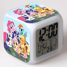 Amine Princess Poni Figure Color Flash Touch light Alarm Clock My Rainbow Horse PVC Bedroom Watch Baby Toys For girls