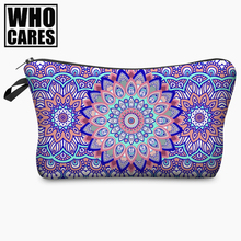 Mandala Flowers Round 3D Printing Cosmetic Bag 2017 Fashion Women Organizer Toiletry Bag with Zipper Mujer Neceser Maquillaje