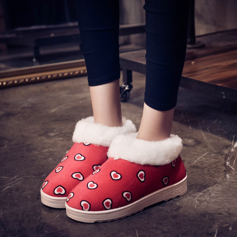 2017 New winter snow boots female boots Duantong thick warm love shoes slip padded shoes snow boots<br><br>Aliexpress