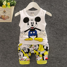 BibiCola Summer Children Vest Clothes Set Baby Boy Clothing Set Sleeveless Tops+Shorts Kid clothing Boy Cartoon mouse sport suit