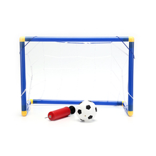 Hot! Plastic Folding Mini Football Soccer Ball Goal Post Net Set + Pump Kids Sport Indoor Outdoor Games Toys Child Birthday Gift(China)