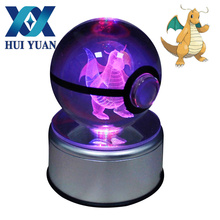 HUI YUAN Dragonite Crystal Ball Rotary Base USB & Battery Powered 3D LED Night Light Desk Table Lamp Decorations(China)