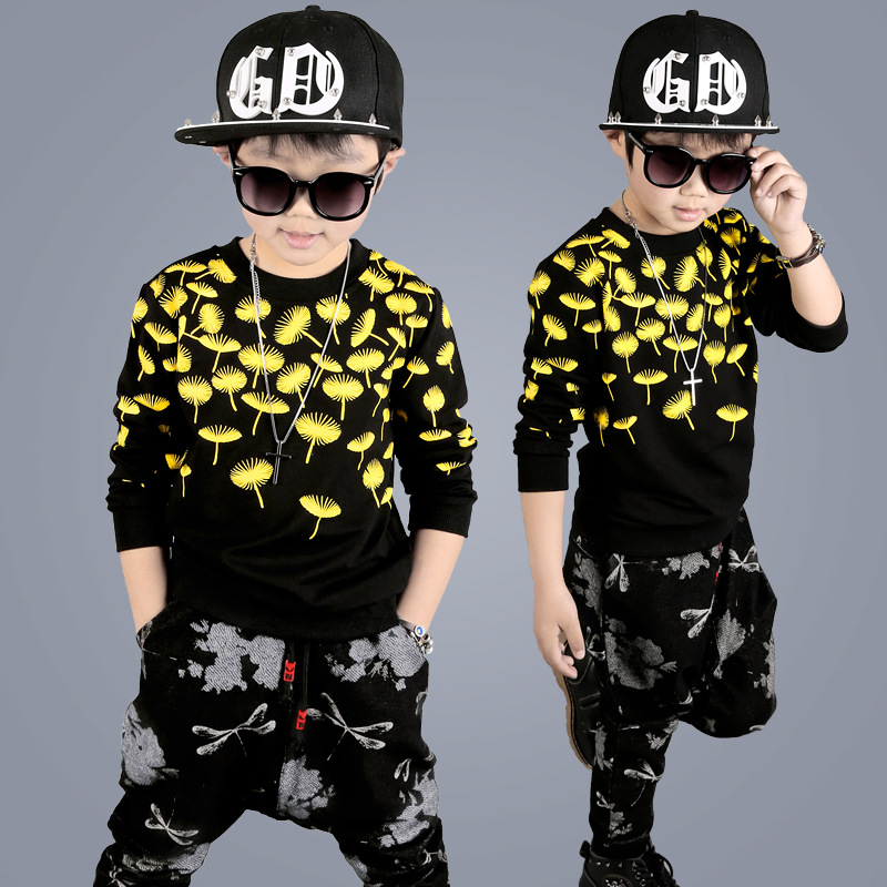 Childrens clothing set 2017 spring and autumn new childrens long-sleeved sports two sets of childrens suit 4 5 6 7 8 9 years<br>