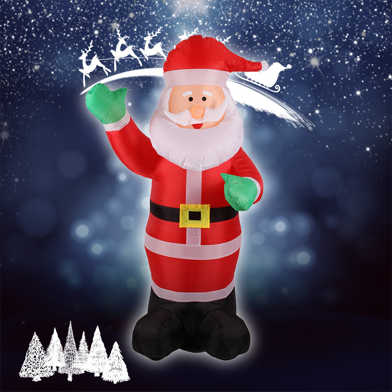 1.8m Inflatable Santa Claus Waving Hand Christmas Inflatable Santa Claus Cute Xmas Decoration 5.9ft Outdoor Inflatable Statues(China (Mainland))