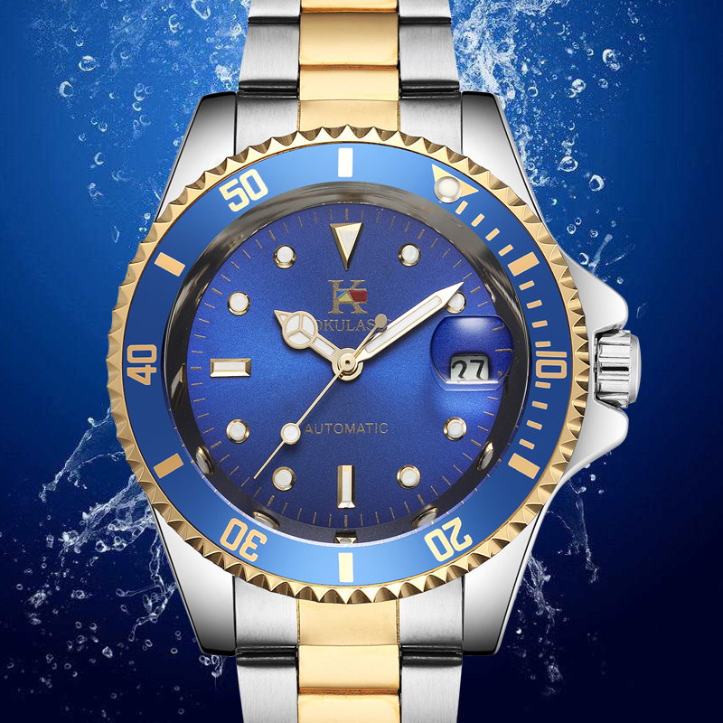AOKULASIC 2018 Top Luxury Brand New Fashion Dazzling Eye-catching Color Full Steel Automatic Machine Mens Waterproof Watch  blue<br>