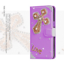 New Women Cross Rhinestone Leather Case Bling Diamond Crystal Wallet Cover For huawei p9/p10/p8 lite 2017/honor 8/y5 Y3 ii/nova