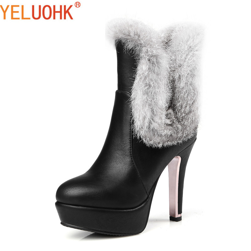 34-46 Ankle Boots For Women Plush Warm Women Winter Boots High Heel Winter Women Boots Big Size <br>