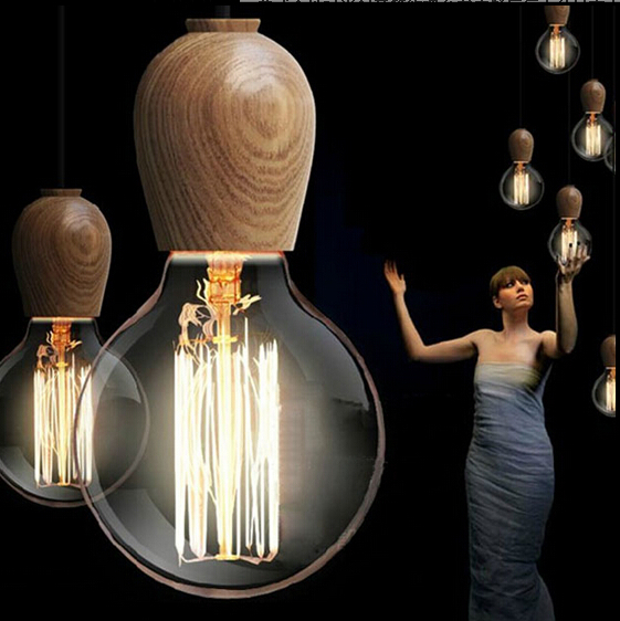 Thailand Import Oak vintage pendant lights industrial edison pendant lamp wood Indoor pendant lighting for restaurants<br>