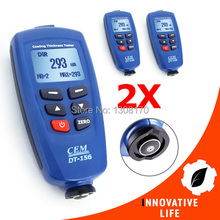 2 x pieces CEM DT-156 Pro Paint Coating Thickness Meter Gauge Auto F/NF Probe Tester 1250um USB Cable CD Software