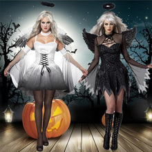 2017 Black and White Women&Girl's Halloween Costumes Night Angel & Evil Demon Cosplay Sweet Movie Roles Dresses+Headwear+Wing