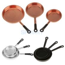 1/12 Scale 3pcs Dollhouse Miniature Metal Frypan Frying Pans Cooking Pot Cookware Kitchen Accessory