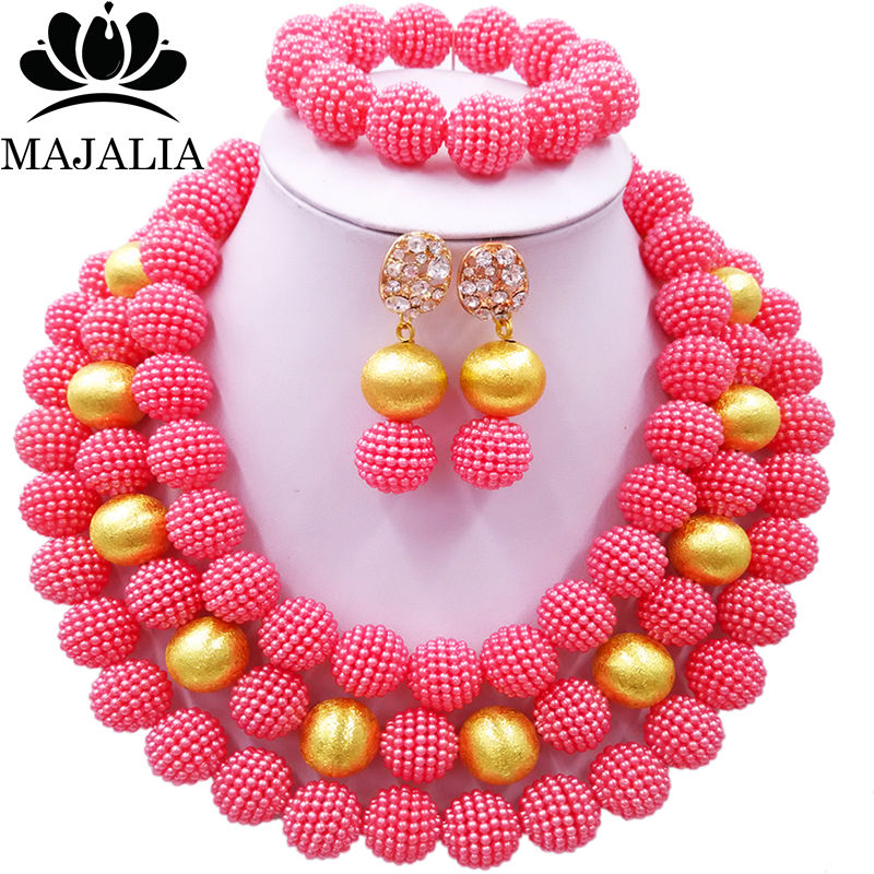 Nigerian Wedding African Beads Jewelry Set Simulated Pearl Necklace New Picture (17)