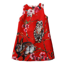 2016 New 2-8T classic girls dresses fashion European style kids clothes for girls cotton animal pattern child sleeveless clothes